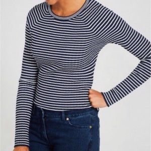 J. McLaughlin Crew Navy & White Striped Sweater